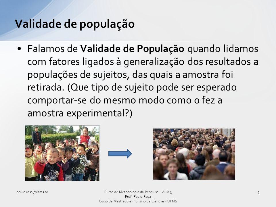 Validade de população Falamos de Validade de População quando lidamos com fatores ligados à generalização dos resultados a populações de sujeitos, das