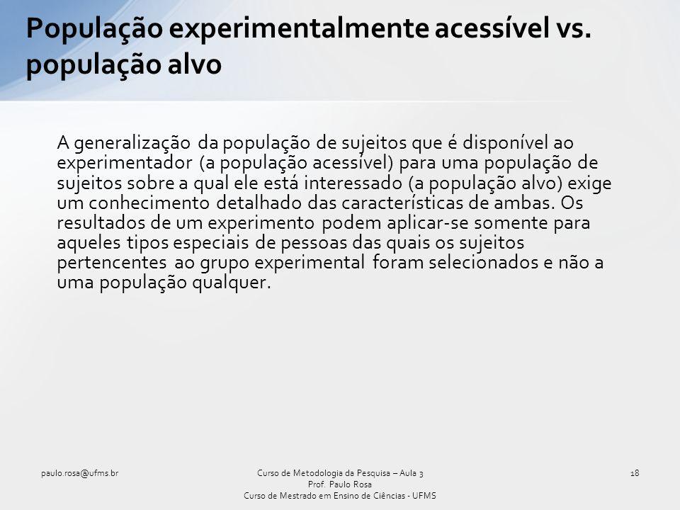 População experimentalmente acessível vs. população alvo A generalização da população de sujeitos que é disponível ao experimentador (a população aces
