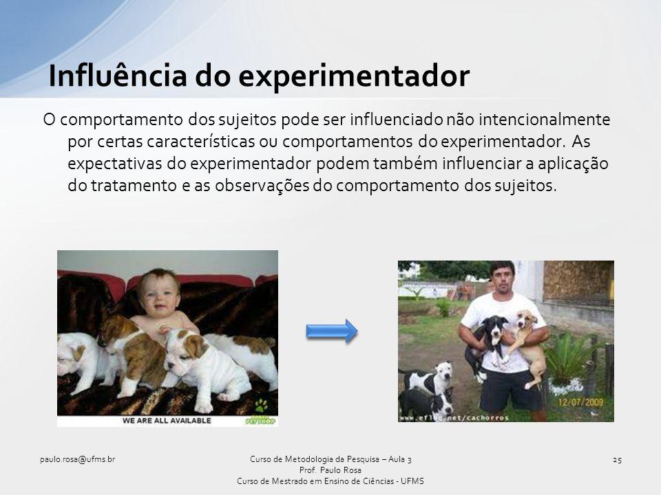 Influência do experimentador O comportamento dos sujeitos pode ser influenciado não intencionalmente por certas características ou comportamentos do e