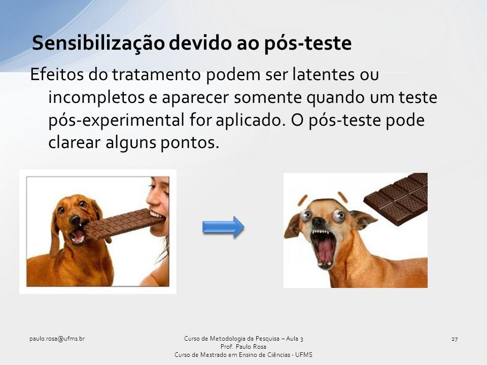 Sensibilização devido ao pós-teste Efeitos do tratamento podem ser latentes ou incompletos e aparecer somente quando um teste pós-experimental for apl
