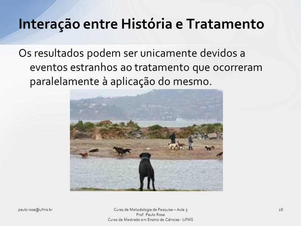 Interação entre História e Tratamento Os resultados podem ser unicamente devidos a eventos estranhos ao tratamento que ocorreram paralelamente à aplic
