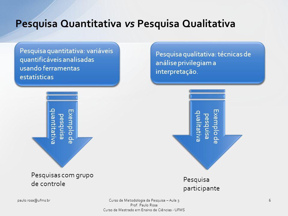 Pesquisa Quantitativa vs Pesquisa Qualitativa paulo.rosa@ufms.br6Curso de Metodologia da Pesquisa – Aula 3 Prof. Paulo Rosa Curso de Mestrado em Ensin
