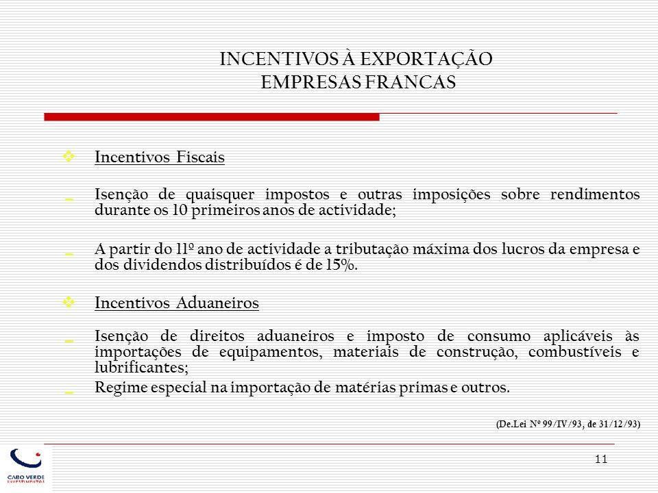 11 INCENTIVOS À EXPORTAÇÃO EMPRESAS FRANCAS Incentivos Fiscais Isenção de quaisquer impostos e outras imposições sobre rendimentos durante os 10 prime