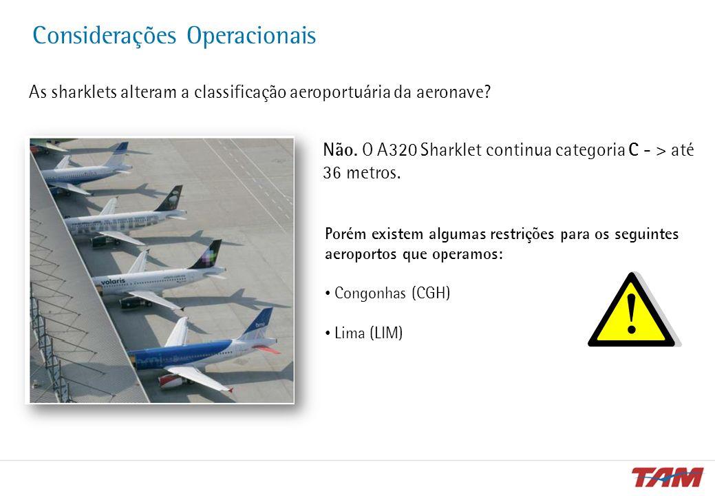 Considerações Operacionais As sharklets alteram a classificação aeroportuária da aeronave? Não. O A320 Sharklet continua categoria C - > até 36 metros