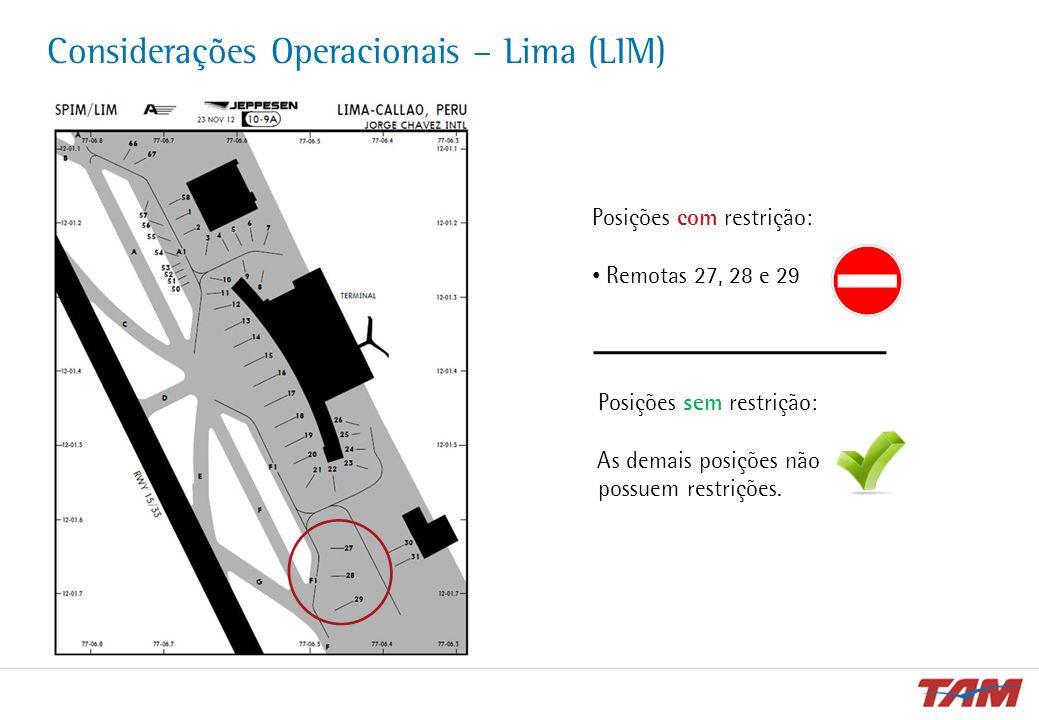 Considerações Operacionais – Lima (LIM) Posições sem restrição: As demais posições não possuem restrições. Posições com restrição: Remotas 27, 28 e 29