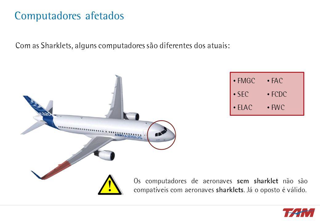 Computadores afetados Com as Sharklets, alguns computadores são diferentes dos atuais: FMGC SEC ELAC FAC FCDC FWC Os computadores de aeronaves sem sha