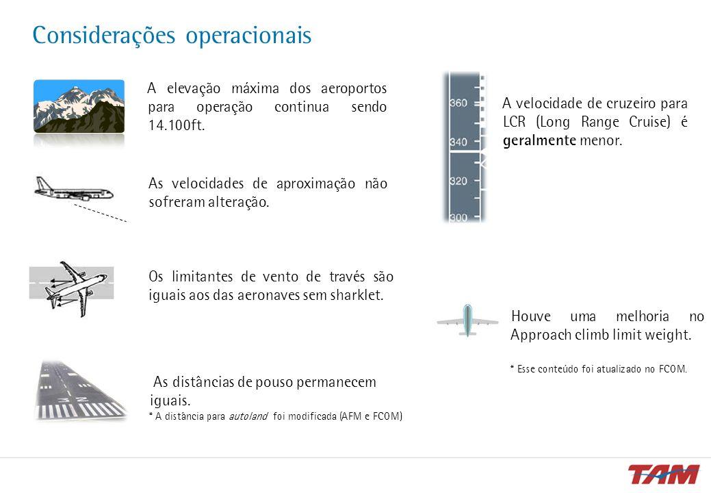 Considerações operacionais A elevação máxima dos aeroportos para operação continua sendo 14.100ft. As velocidades de aproximação não sofreram alteraçã