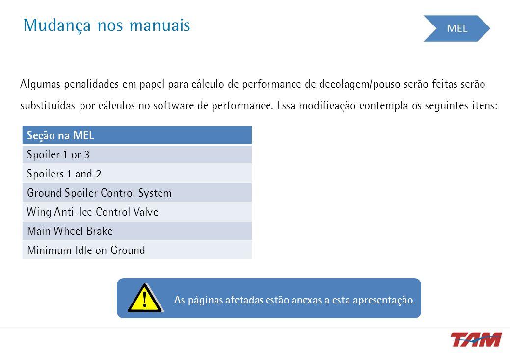 Mudança nos manuais Algumas penalidades em papel para cálculo de performance de decolagem/pouso serão feitas serão substituídas por cálculos no softwa