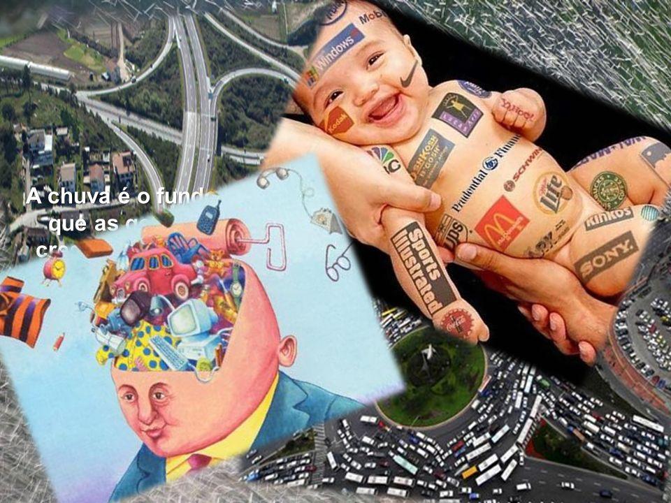 As imagens seguintes caracterizam uma sociedade típica capitalista. Pode-se ver o progresso e o investimento em vias de comunicação (auto estradas) e
