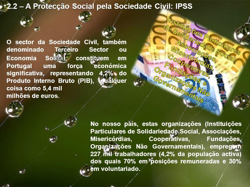2.2 – A Protecção Social pela Sociedade Civil: IPSS No nosso país, estas organizações (Instituições Particulares de Solidariedade Social, Associações,