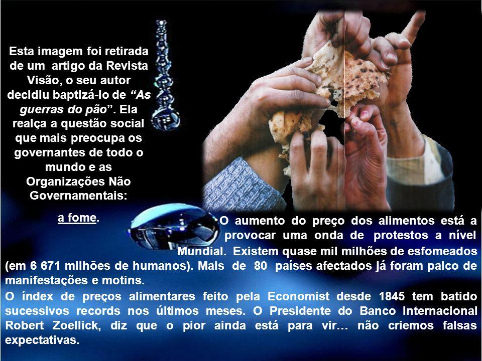 Organizações Não Governamentais Esta imagem foi retirada de um artigo da Revista Visão, o seu autor decidiu baptizá-lo de As guerras do pão. Ela realç