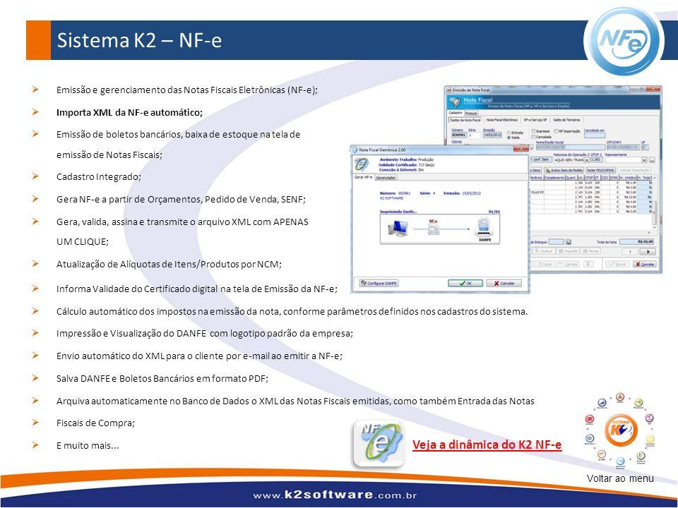 Emissão e gerenciamento das Notas Fiscais Eletrônicas (NF-e); Importa XML da NF-e automático; Emissão de boletos bancários, baixa de estoque na tela d