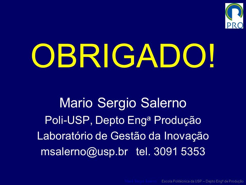 Mario Sergio Salerno Escola Politécnica da USP – Depto Eng a de Produção OBRIGADO! Mario Sergio Salerno Poli-USP, Depto Eng a Produção Laboratório de
