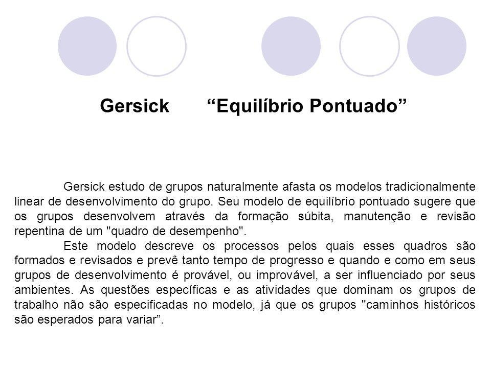 Gersick estudo de grupos naturalmente afasta os modelos tradicionalmente linear de desenvolvimento do grupo. Seu modelo de equilíbrio pontuado sugere