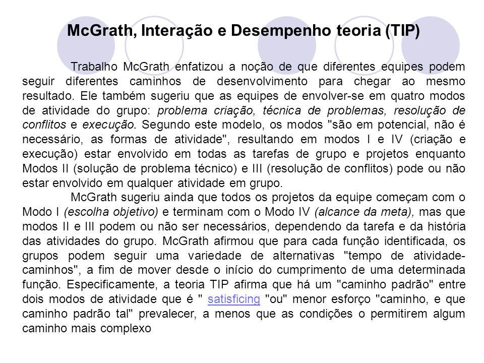 McGrath, Interação e Desempenho teoria (TIP) Trabalho McGrath enfatizou a noção de que diferentes equipes podem seguir diferentes caminhos de desenvol
