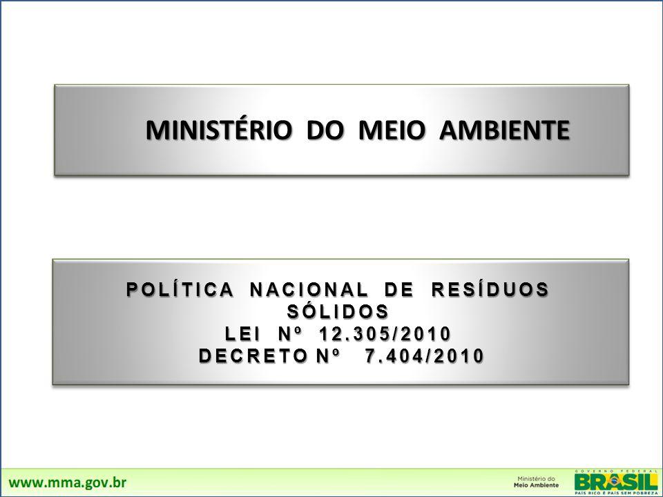 MINISTÉRIO DO MEIO AMBIENTE POLÍTICA NACIONAL DE RESÍDUOS SÓLIDOS LEI Nº 12.305/2010 DECRETO Nº 7.404/2010 DECRETO Nº 7.404/2010