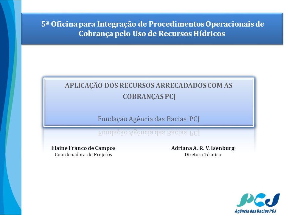 5ª Oficina para Integração de Procedimentos Operacionais de Cobrança pelo Uso de Recursos Hídricos Elaine Franco de Campos Coordenadora de Projetos Ad
