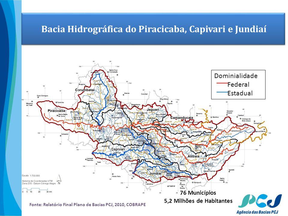 Dominialidade Federal Estadual Fonte: Relatório Final Plano de Bacias PCJ, 2010, COBRAPE Bacia Hidrográfica do Piracicaba, Capivari e Jundiaí 76 Munic