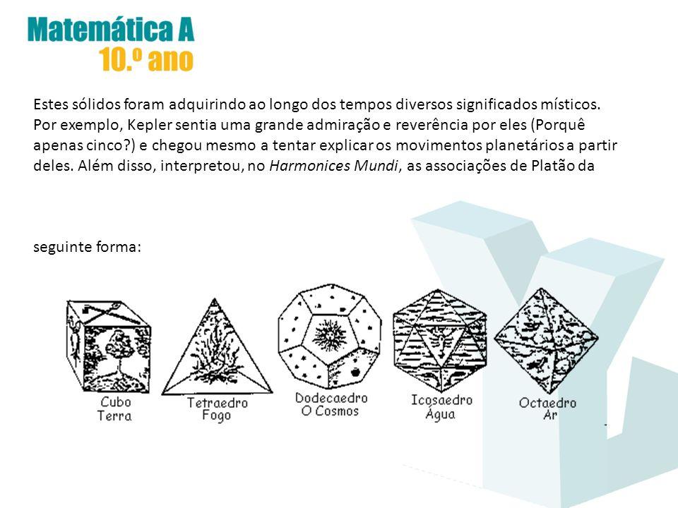 Estes sólidos foram adquirindo ao longo dos tempos diversos significados místicos. Por exemplo, Kepler sentia uma grande admiração e reverência por el