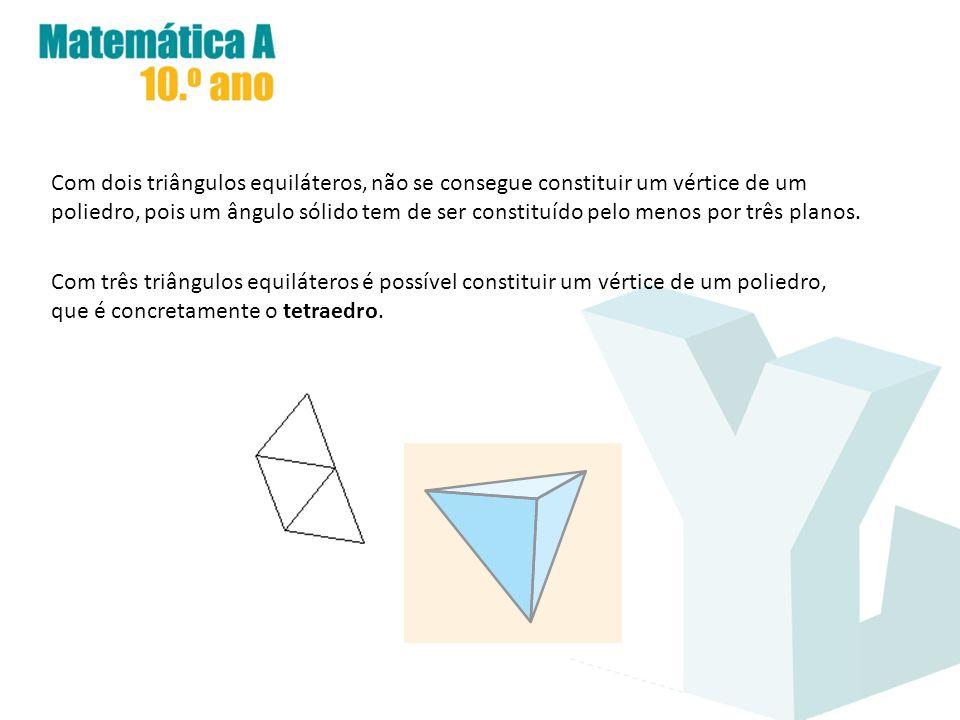 Com dois triângulos equiláteros, não se consegue constituir um vértice de um poliedro, pois um ângulo sólido tem de ser constituído pelo menos por trê