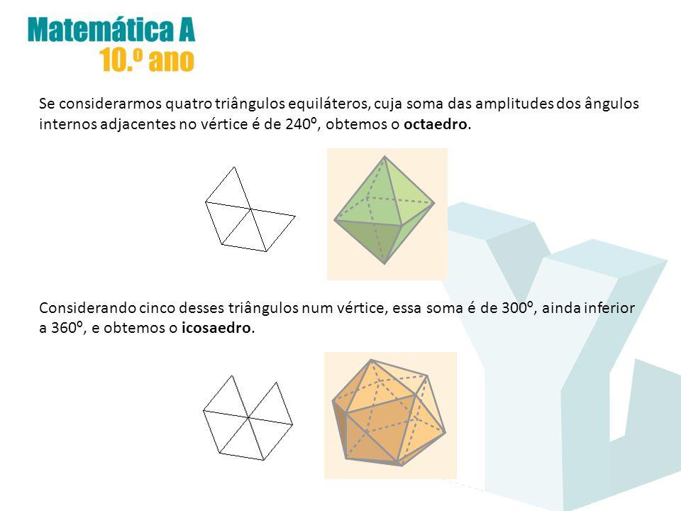 Se considerarmos quatro triângulos equiláteros, cuja soma das amplitudes dos ângulos internos adjacentes no vértice é de 240 º, obtemos o octaedro. Co