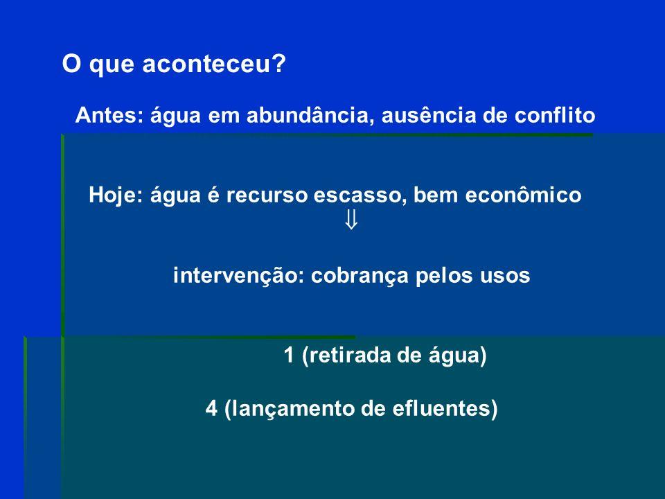 Cobrança na Paraíba Deliberação CBH-LN 01/08 o Irrigação e outros usos agropecuários: R$ 0,003/m 3 (isentos: menor 350.000/m 3 ) o Pisicultura e carcinicultura: R$ 0,005/m 3 o Abastecimento público: R$ 0,012/m 3 o Comércio: R$ 0,012/m 3 o Lançamento de esgotos e demais efluentes: R$ 0,012/m 3 o Indústria: R$ 0,015/m 3