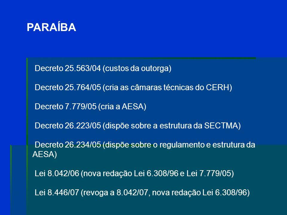PARAÍBA Lei 6.308/96: institui a Política Estadual de Recursos Hídricos; a cobrança é um instrumento gerencial Decreto 18.824/97 (regimento interno do