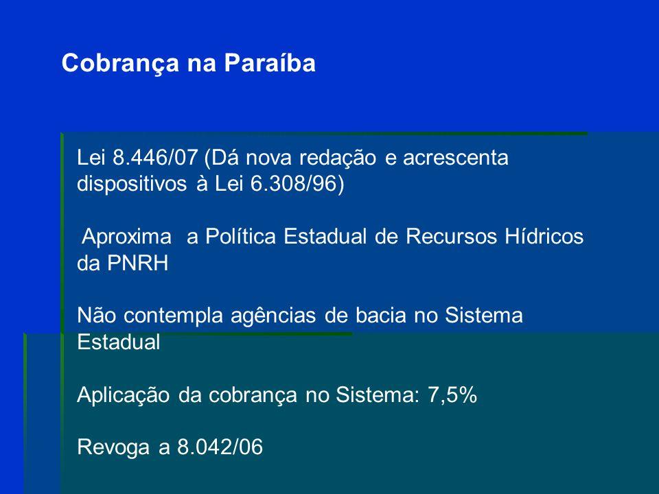 Cobrança na Paraíba No segundo semestre de 2007: CBH-PB, CBH-LS e CBH-LN - discussão sobre a cobrança Grupos de trabalho No CBH-PB: - nova redação à L