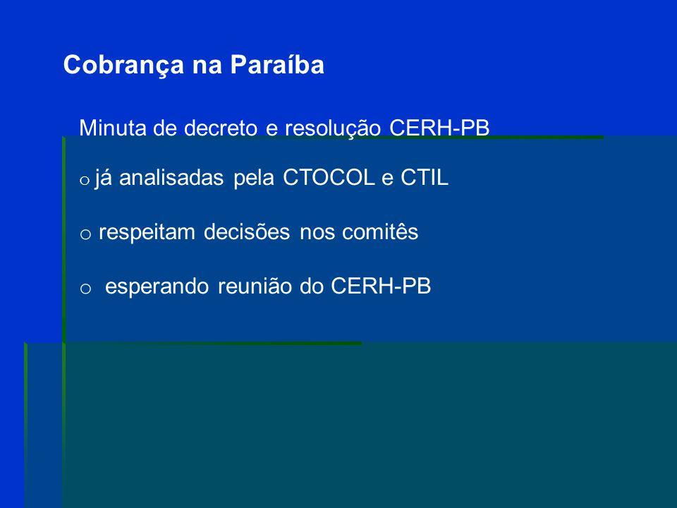 Cobrança na Paraíba Deliberação CBH-LN 01/08 o Irrigação e outros usos agropecuários: R$ 0,003/m 3 (isentos: menor 350.000/m 3 ) o Pisicultura e carci