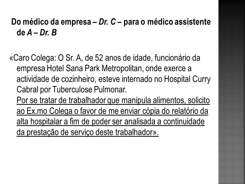 Do médico da empresa – Dr. C – para o médico assistente de A – Dr. B «Caro Colega: O Sr. A, de 52 anos de idade, funcionário da empresa Hotel Sana Par