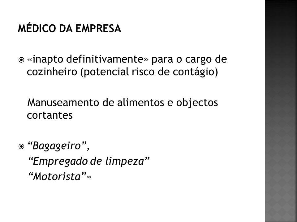 MÉDICO DA EMPRESA «inapto definitivamente» para o cargo de cozinheiro (potencial risco de contágio) Manuseamento de alimentos e objectos cortantes Bag
