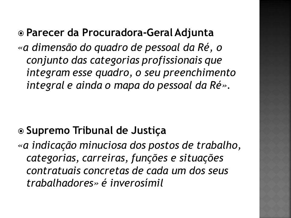 Parecer da Procuradora-Geral Adjunta «a dimensão do quadro de pessoal da Ré, o conjunto das categorias profissionais que integram esse quadro, o seu p