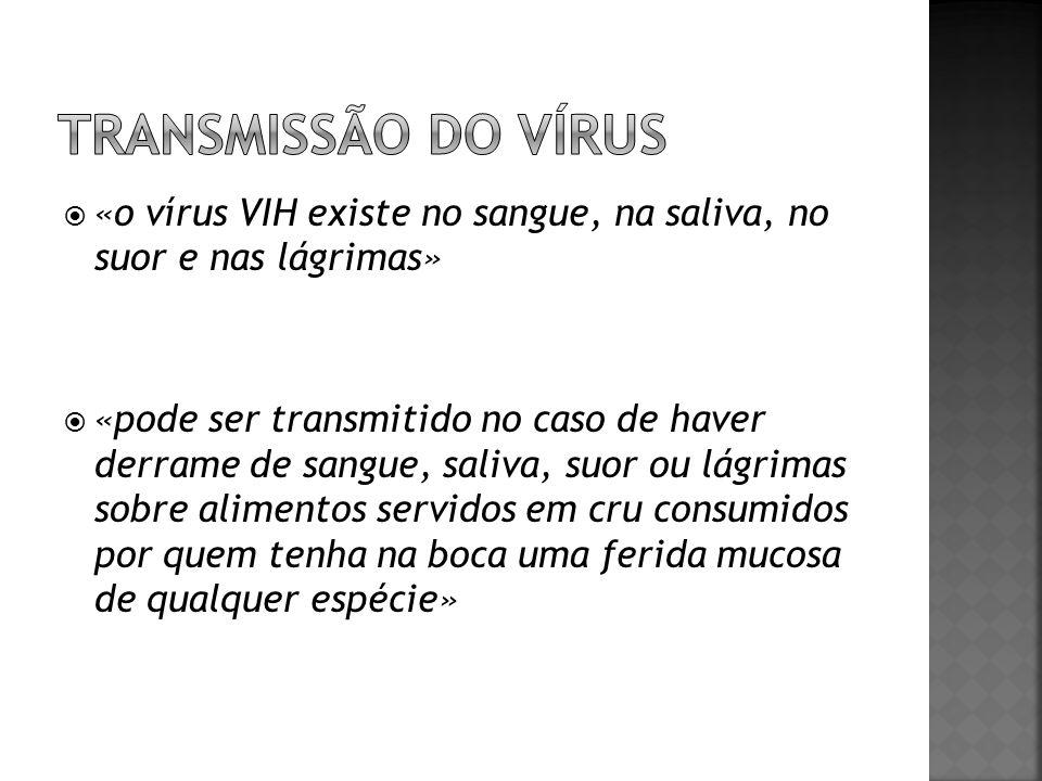 «o vírus VIH existe no sangue, na saliva, no suor e nas lágrimas» «pode ser transmitido no caso de haver derrame de sangue, saliva, suor ou lágrimas s