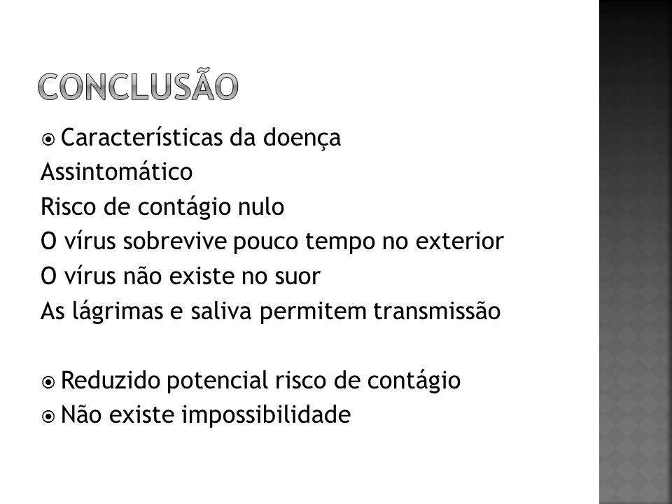 Características da doença Assintomático Risco de contágio nulo O vírus sobrevive pouco tempo no exterior O vírus não existe no suor As lágrimas e saliva permitem transmissão Reduzido potencial risco de contágio Não existe impossibilidade