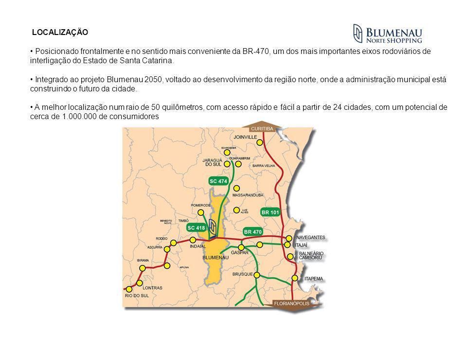 LOCALIZAÇÃO Posicionado frontalmente e no sentido mais conveniente da BR-470, um dos mais importantes eixos rodoviários de interligação do Estado de S