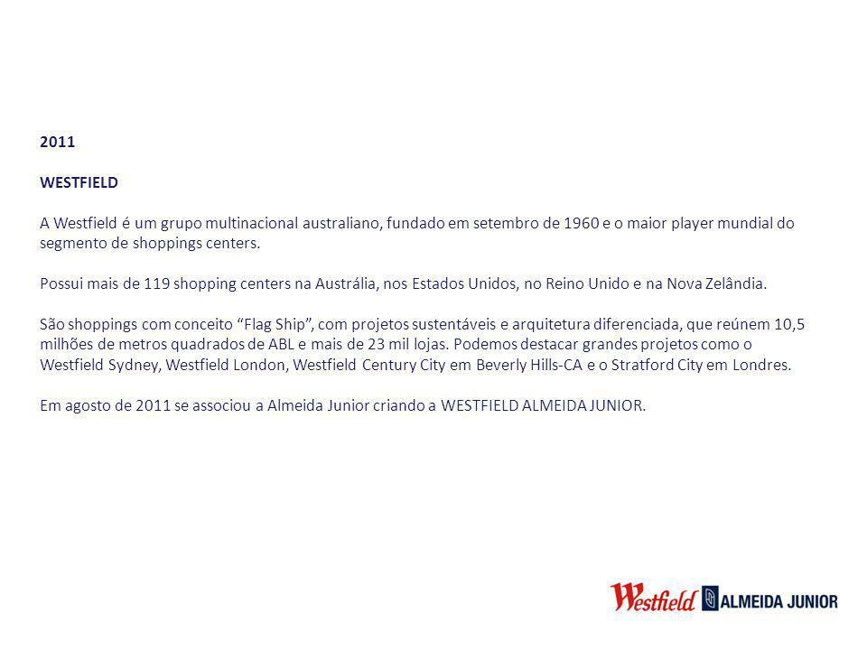 2011 WESTFIELD A Westfield é um grupo multinacional australiano, fundado em setembro de 1960 e o maior player mundial do segmento de shoppings centers