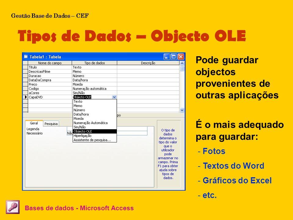 Tipos de Dados – Objecto OLE Bases de dados - Microsoft Access Pode guardar objectos provenientes de outras aplicações É o mais adequado para guardar: