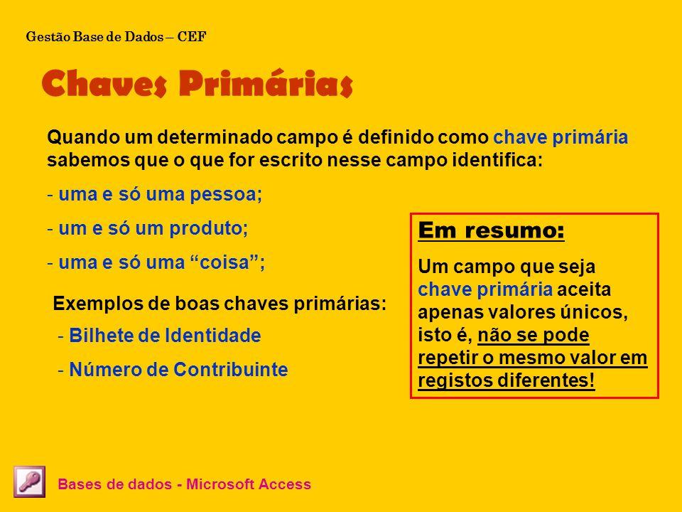 Chaves Primárias Bases de dados - Microsoft Access Quando um determinado campo é definido como chave primária sabemos que o que for escrito nesse camp