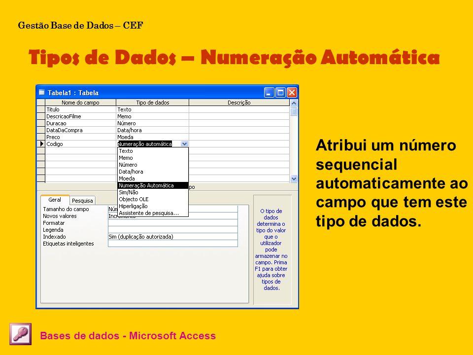Tipos de Dados – Numeração Automática Bases de dados - Microsoft Access Atribui um número sequencial automaticamente ao campo que tem este tipo de dad