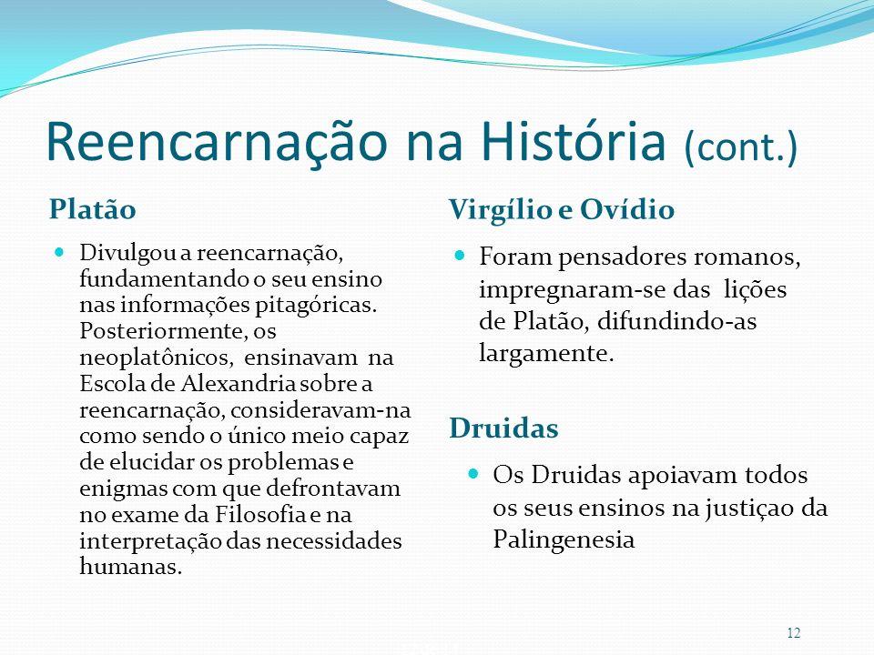 12 de 14 Reencarnação na História (cont.) Platão Virgílio e Ovídio Divulgou a reencarnação, fundamentando o seu ensino nas informações pitagóricas. Po