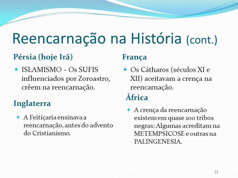13 de 14 Reencarnação na História (cont.) Pérsia (hoje Irã) França ISLAMISMO - Os SUFIS influenciados por Zoroastro, crêem na reencarnação. Os Cátharo