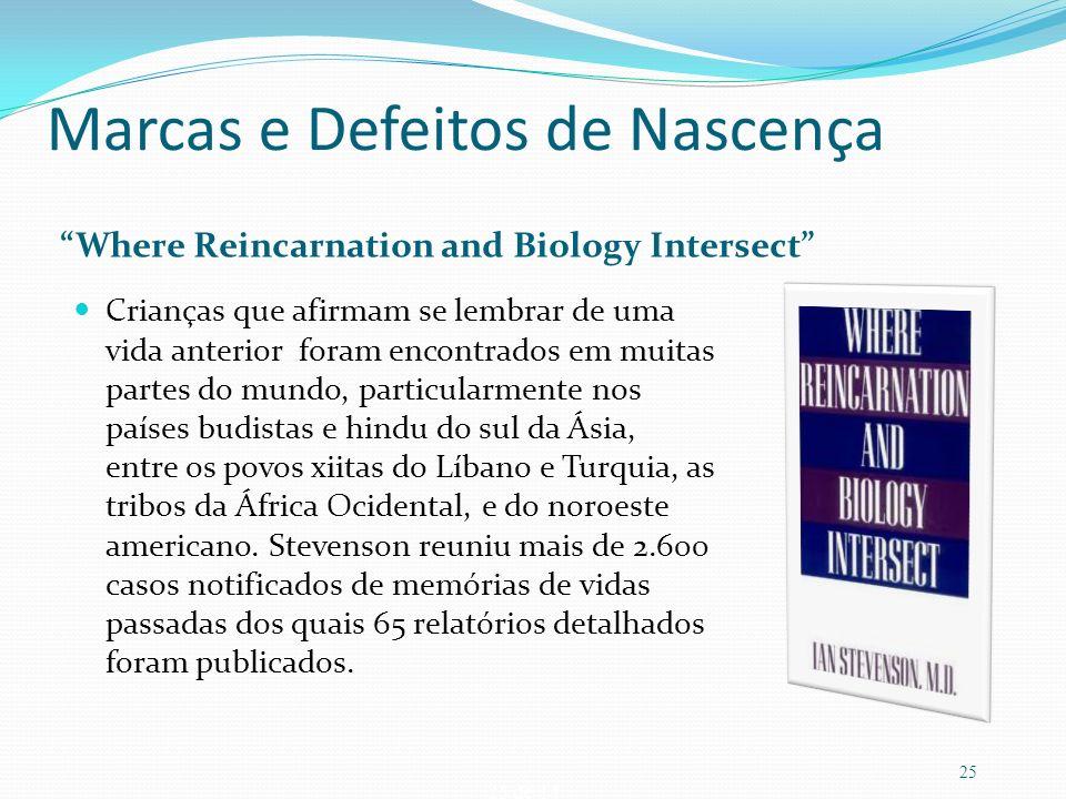 25 de 14 Marcas e Defeitos de Nascença Where Reincarnation and Biology Intersect Crianças que afirmam se lembrar de uma vida anterior foram encontrado