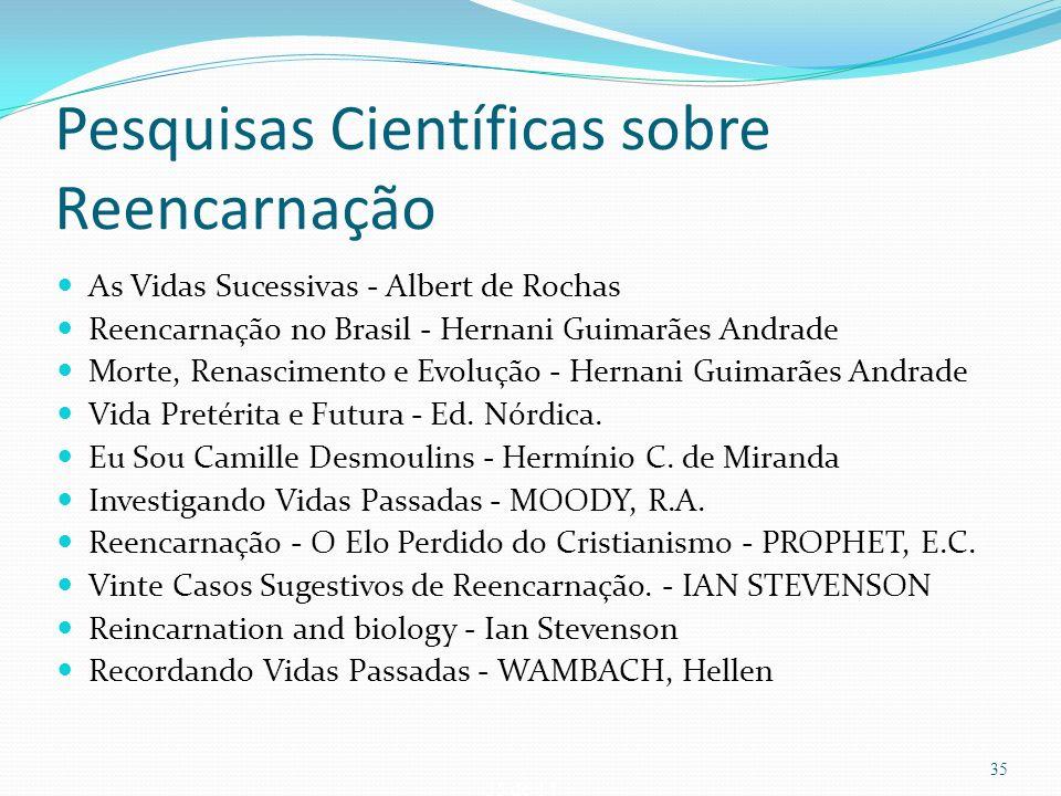 35 de 14 Pesquisas Científicas sobre Reencarnação As Vidas Sucessivas - Albert de Rochas Reencarnação no Brasil - Hernani Guimarães Andrade Morte, Ren