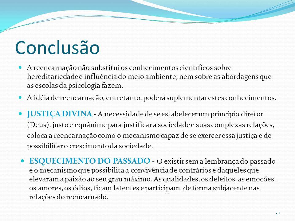 37 de 14 Conclusão A reencarnação não substitui os conhecimentos científicos sobre hereditariedade e influência do meio ambiente, nem sobre as abordag