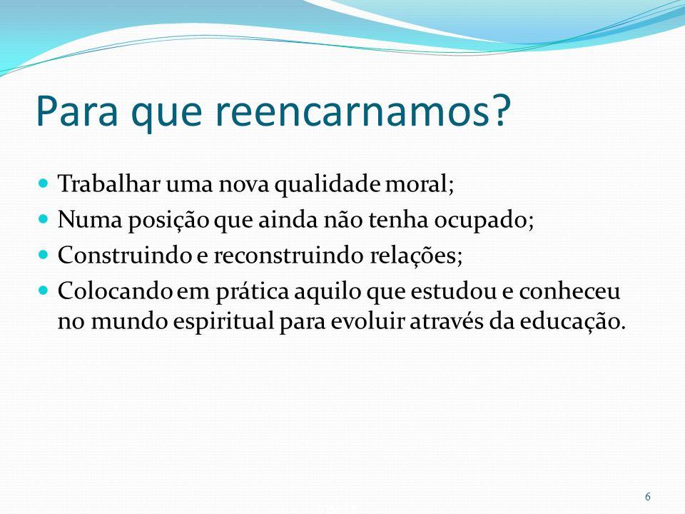 37 de 14 Conclusão A reencarnação não substitui os conhecimentos científicos sobre hereditariedade e influência do meio ambiente, nem sobre as abordagens que as escolas da psicologia fazem.