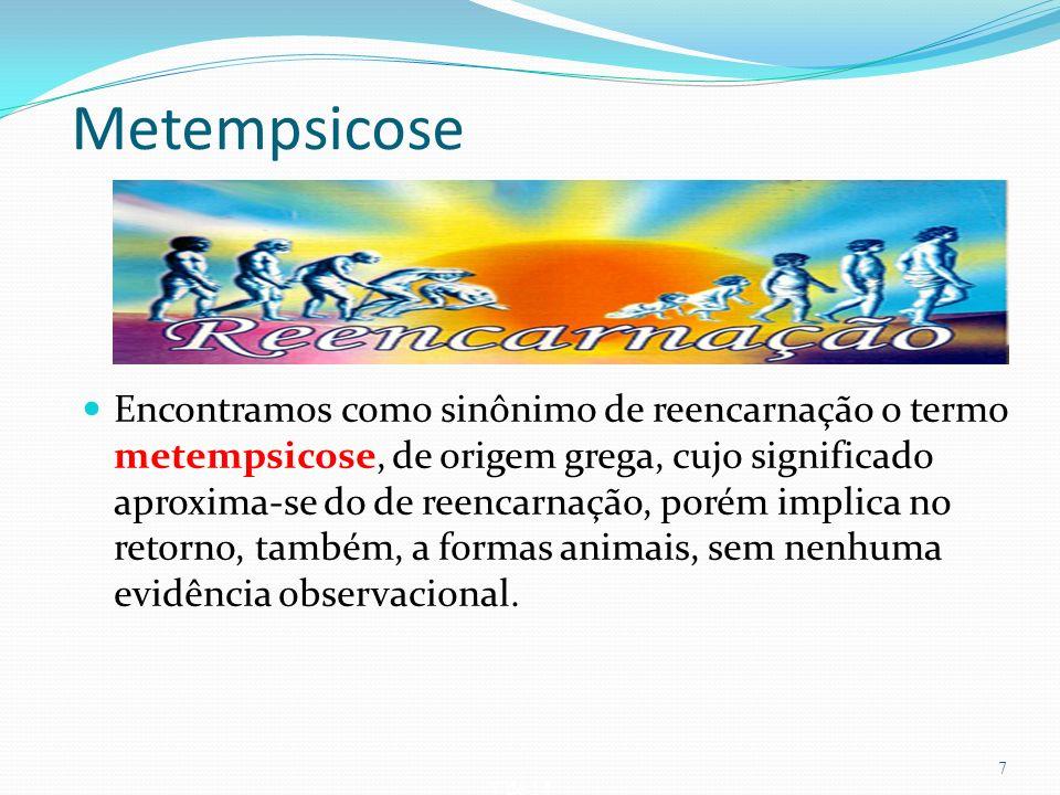 7 de 14 Metempsicose Encontramos como sinônimo de reencarnação o termo metempsicose, de origem grega, cujo significado aproxima-se do de reencarnação,