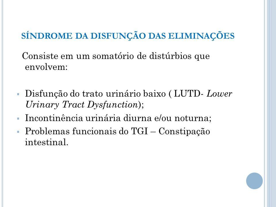 Consiste em um somatório de distúrbios que envolvem: Disfunção do trato urinário baixo ( LUTD- Lower Urinary Tract Dysfunction ); Incontinência urinár