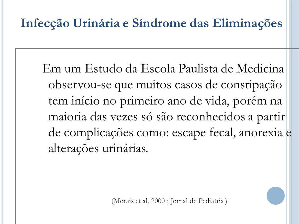 Infecção Urinária e Síndrome das Eliminações Em um Estudo da Escola Paulista de Medicina observou-se que muitos casos de constipação tem início no pri