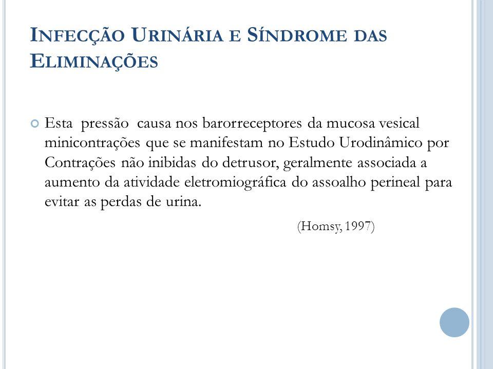 I NFECÇÃO U RINÁRIA E S ÍNDROME DAS E LIMINAÇÕES Esta pressão causa nos barorreceptores da mucosa vesical minicontrações que se manifestam no Estudo U
