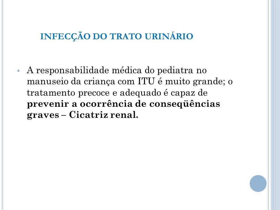 A responsabilidade médica do pediatra no manuseio da criança com ITU é muito grande; o tratamento precoce e adequado é capaz de prevenir a ocorrência